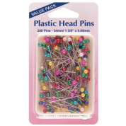 Hemline Plastic Head Pins - 34mm x 0.65mm - 200 pack